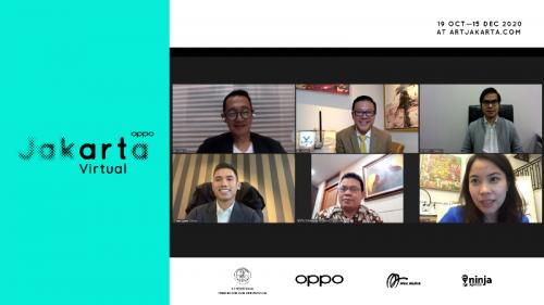 Dengan mengandalkan teknologi dan internet, menikmati karya seni rupa dengan cara yang berbeda. (Foto: Dok. OPPO Art Jakarta Virtual 2020)
