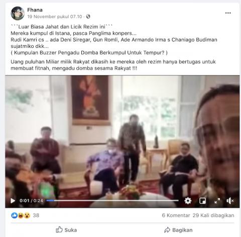 [Cek Fakta] Video Penampakan Buzzer yang Dibayar Puluhan Miliar Siap Tempur Kumpul di Istana? Ini Faktanya