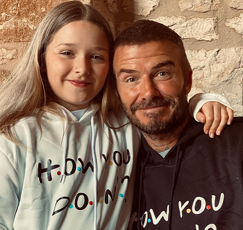 Perempuan berusia delapan tahun ini juga ikut menjadi buah bibir karena tak kalah stylishnya dengan sang ibu. (Foto: Dok. Instagram/@davidbeckham)
