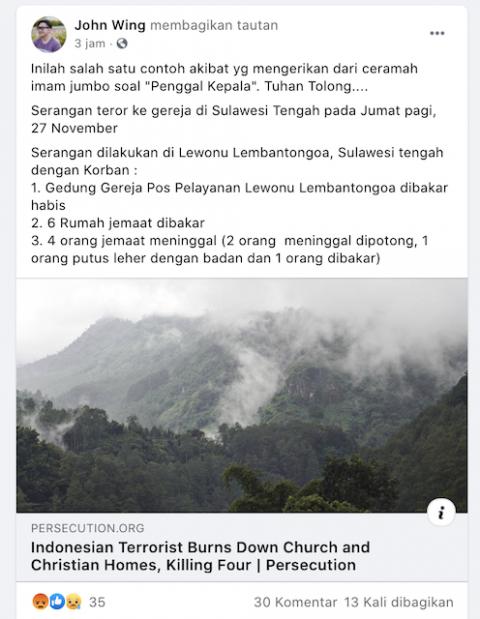 [Cek Fakta] Sebuah Gereja di Sulawesi Tengah Dibakar Habis? Ini Faktanya