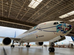 Desain Terbaru, Pesawat Garuda Pakai Masker Bermotif Batik Tambal Yogyakarta