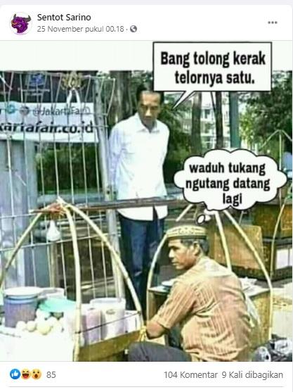 [Cek Fakta] Foto Jokowi Ngutang Saat Membeli Kerak Telor? Ini Faktanya