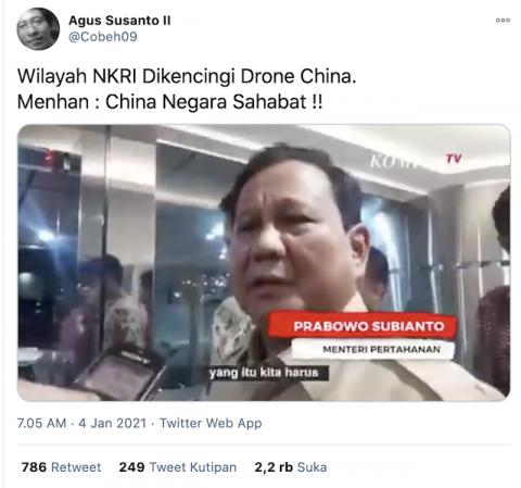 [Cek Fakta] Drone Tiongkok Masuk Perairan NKRI, Prabowo Sebut Tiongkok Negara Sahabat? Ini Faktanya