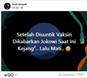 [Cek Fakta] Jokowi Dikabarkan Kejang-Kejang Usai Divaksin dan Meninggal Hoaks, Ini Faktanya