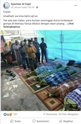 [Cek Fakta] Foto Jenazah Korban Gempa tak Dibungkus Kain Kafan, tapi Daun Pisang? Ini Faktanya