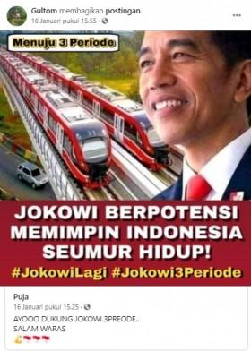 [Cek Fakta] Jokowi Berpotensi Memimpin Indonesia Seumur Hidup? Ini Faktanya