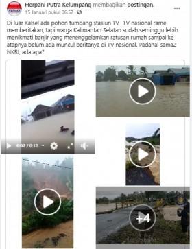 [Cek Fakta] Banjir di Kalimantan Selatan Tak Diliput Media Nasional? Ini Faktanya