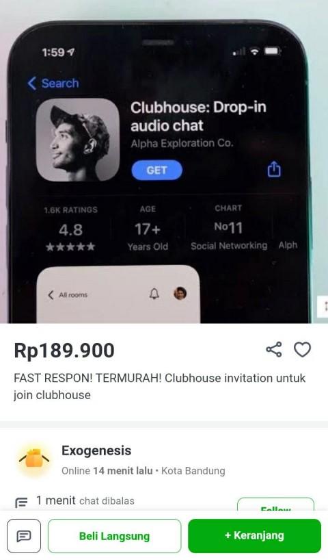 Makin Terkenal, Clubhouse <i>Invitation</i> Dijual di E-commerce Harganya Lumayan