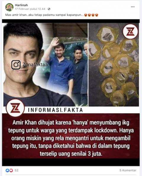 [Cek Fakta] Amir Khan Bagikan Bantuan 1Kg Tepung yang di Dalamnya Berisi Uang Jutaan Rupiah? Ini Faktanya