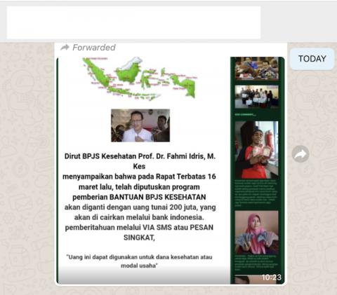 [Cek Fakta] Program Bantuan BPJS Kesehatan Diganti dengan Uang Tunai 200 Juta? Ini Faktanya