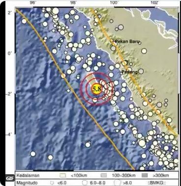 Gempa Magnitudo 5,8 Guncang Mentawai
