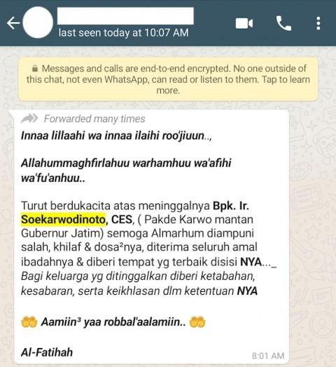 [Cek Fakta] Mantan Gubernur Jawa Timur Soekarwo Dikabarkan Meninggal? Cek Faktanya