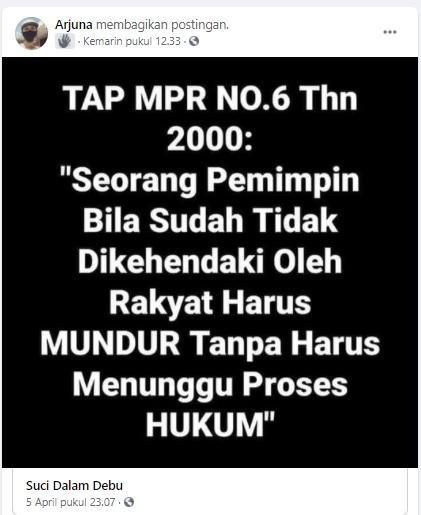 [Cek Fakta] Tap MPR Nomor 6 Tahun 2000 <i>