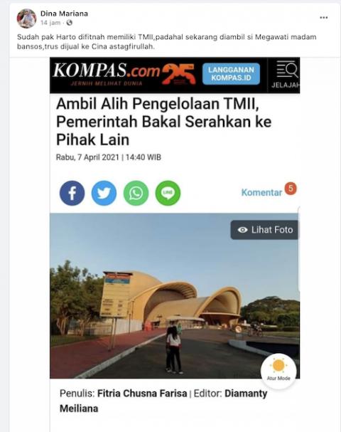 [Cek Fakta] TMII Diambil Megawati dan Dijual ke Tiongkok? Ini Faktanya