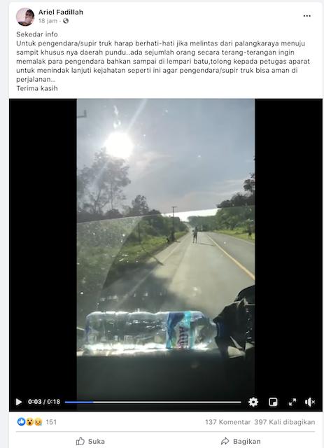 [Cek Fakta] Video Sopir Truk Dipalak di Kalimantan Tengah? Ini Faktanya
