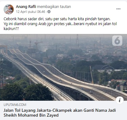 [Cek Fakta] Tol Layang Jakarta-Cikampek Dijual ke Orang Arab? Ini Faktanya