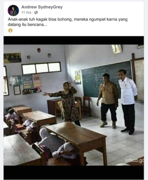 [Cek Fakta] Beredar Foto Siswa <i>Ngumpet</i> di Bawah Meja Saat Jokowi Datang? Begini Faktanya