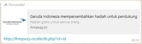 [Cek Fakta] Undian Berhadiah Garuda Indonesia? Ini Faktanya
