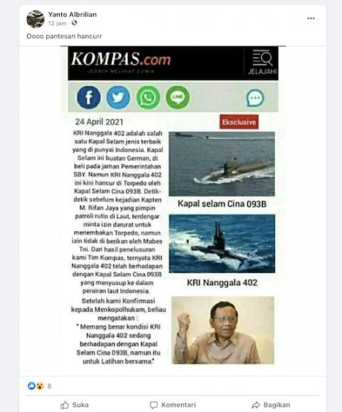 [Cek Fakta] KRI Nanggala-402 Hancur karena Torpedo Kapal Selam Tiongkok 093B? Ini Faktanya