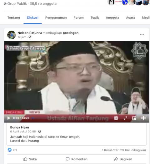 [Cek Fakta] Video Ceramah Ustaz Alfian Tanjung soal Dana Haji Dipakai Bangun Rel Kereta Api? Ini Faktanya