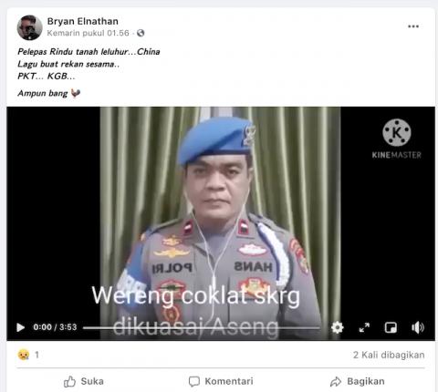 [Cek Fakta] Seorang Pria Berseragam Polri Nyanyikan Lagu Mandarin Pelepas Rindu Tanah Leluhurnya di Tiongkok? Ini Faktanya
