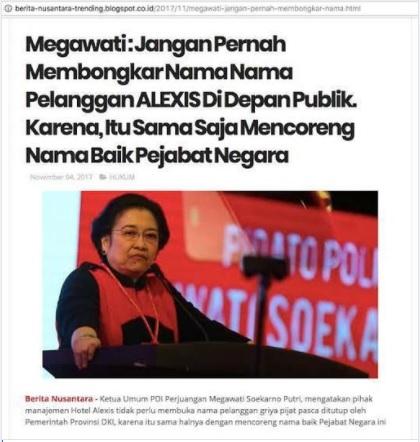 [Cek Fakta] Megawati: <i>Jangan Pernah Membongkar Nama Pelanggan Alexis di Depan Publik</i>? Ini Faktanya