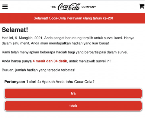[Cek Fakta] Link Dapatkan Dana Kesejahteraan Coca-Cola dalam Rangka Perayaan HUT ke-20? Ini Faktanya