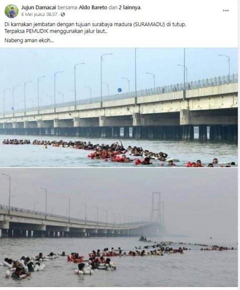 [Cek Fakta] Jembatan Suramadu Ditutup, Pemudik Nekat Berenang di Selat Madura? Ini Faktanya