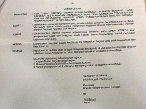 Dewas Belum Tahu 75 Pegawai KPK Dinonaktifkan