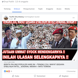 [Cek Fakta] Tengku Zulkarnain Wafat Dibunuh Intelijen Jenderal Merah? Ini Faktanya