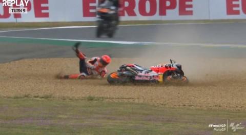 MotoGP Prancis: Marquez Terjatuh di FP4, Honda Panas Dingin