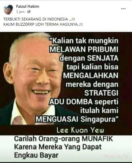 [Cek Fakta] Lee Kuan Yew: Cara Mengalahkan Pribumi dengan Strategi Adu Domba? Ini Faktanya