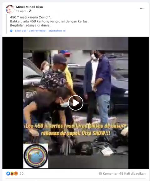[Cek Fakta] Video Kantong Jenazah Pasien Covid-19 Berisi Kertas? Ini Faktanya
