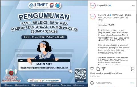 Ingat! Hasil SBMPTN 2021 Bakal Diumumkan Senin 14 Juni
