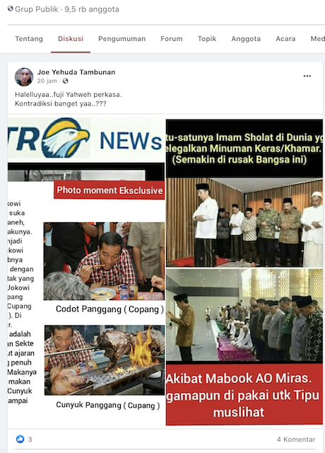 [Cek Fakta] Foto Jokowi Makan Babi Beredar Lagi? Ini Faktanya