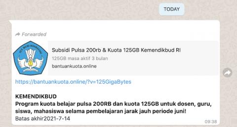 [Cek Fakta] Beredar Link Subsidi Pulsa Rp200 Ribu dan Kuota 125 GB? Ini Faktanya