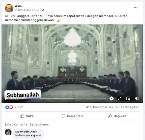 [Cek Fakta] Video Anggota DPR/MPR Turki Baca Alquran sebelum Rapat? Ini Faktanya