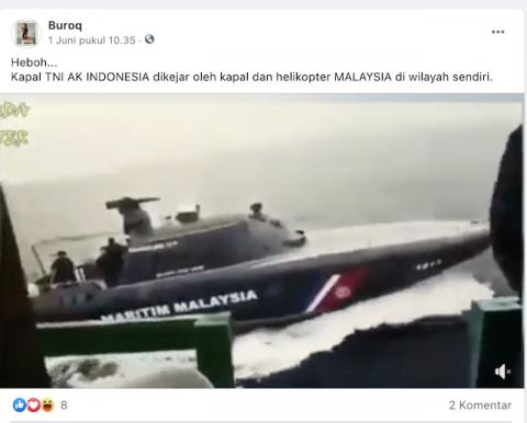 [Cek Fakta] Kapal TNI Dikejar Kapal dan Helikopter Malaysia di Wilayah Sendiri? Ini Faktanya