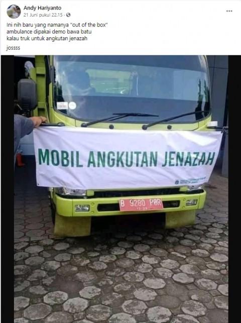 [Cek Fakta] Foto Truk Pengangkut Jenazah Pasien Covid-19 di Jakarta? Ini Faktanya