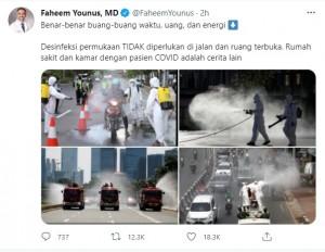 Faheem Younus kembali Berkicau, Sebut Penyemprotan Disinfektan di Jalan Sia-sia