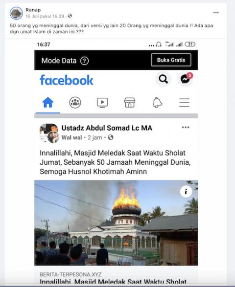 [Cek Fakta] Masjid Meledak aaat Salat Jumat, 50 Jemaah Meninggal Dunia? Begini Faktanya