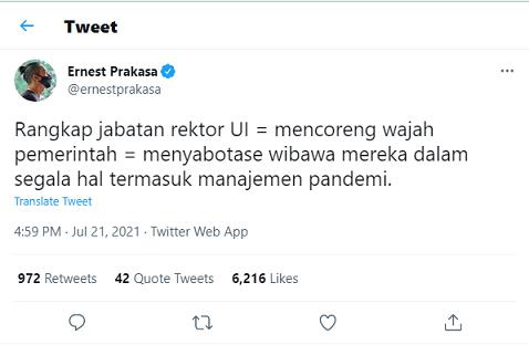 Rektor UI Rangkap Jabatan, Ini Komentar Ernest Prakasa