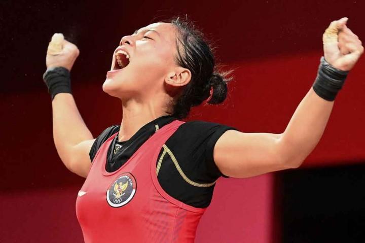 Selebrasi Windy Cantika Usai Sumbang Medali Pertama untuk Indonesia