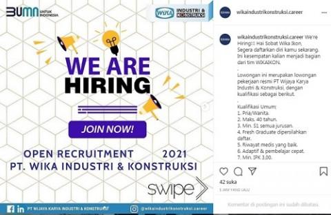 [Cek Fakta] Akun Instagram Ini Unggah Lowongan Kerja PT WIKA Industri dan Konstruksi? Simak Faktanya
