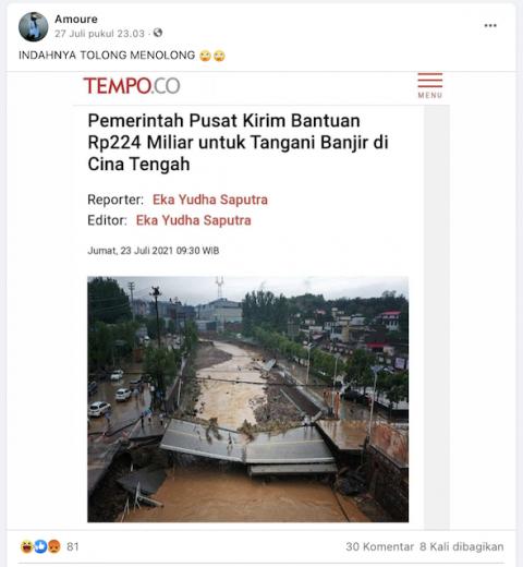 [Cek Fakta] Pemerintah Indonesia Kirim Bantuan Rp224 Miliar untuk Tiongkok Menangani Banjir? Ini Faktanya