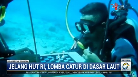 Sambut HUT RI, TNI AL Melonguane Gelar Lomba Catur di Dasar Laut