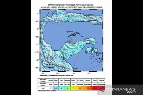 Gempa Sulut Dimutakhirkan M5,2 Dipicu Subduksi Lempeng Laut Sulawesi