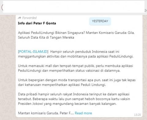 [Cek Fakta] Benarkah Aplikasi PeduliLindungi Buatan Singapura? Ini Faktanya