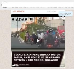 [Cek Fakta] Viral Polantas Dorong Pengendara Sepeda Motor hingga Jatuh? Ini Faktanya