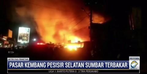 Pasar Kambang di Sumbar Kebakaran, Puluhan Lapak Pedagang Habis Dilalap Api